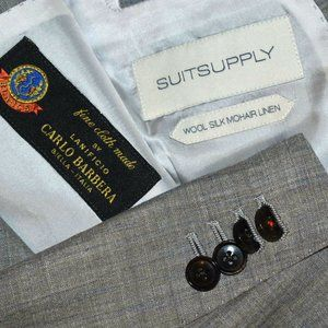 46R SUITSUPPLY Wool/Silk/Linen Gray with Blue coat